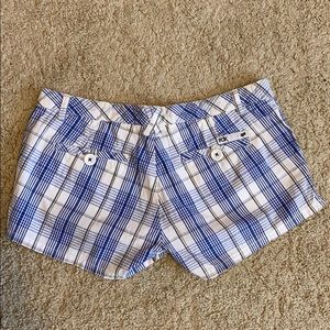 Fox Shorts - Blue striped shorts.